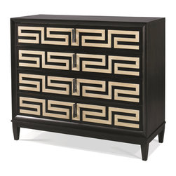 Hickory White - Hickory White Greek Key Chest 245-61 - Four drawers with raised greek key overlays. Maple solids with walnut veneers, no distressing.