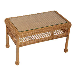 Trade Wind Treasures - Lake Living Outdoor Coffee Table - Includes inset tempered glass top. All weather. Welded aluminum frame. Covered in hand woven UV protected extruded vinyl. Top: 26 in. L x 14 in. W. Table: 30 in. L x 18 in. W x 18 in. H. Warranty