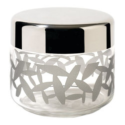 """Alessi - Alessi """"Cactus!"""" Kitchen Jar, Small - Hermetic kitchen jar, in screen-printed glass with cover in 18/10 stainless steel, mirror polished. Marta Sansoni's CACTUS! decoration appears in transparency: this decoration has graced a vast family of objects for the kitchen."""
