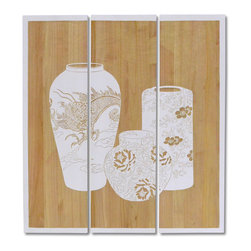 Palecek - Chiseled Pot Wall Decor, Set of 3 - Tung wood panels painted white and hand-carved with pottery design to reveal natural wood tone. Metal hardware on the top back for hanging.