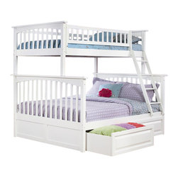 Atlantic Furniture - Atlantic Furniture Columbia Twin over Full Bunk Bed in White - Atlantic Furniture - Bunk Beds - AB55202 -