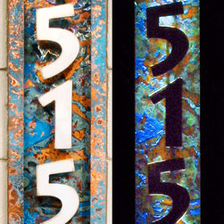 Illuminated House Numbers - House numbers made from stainless steel and copper with applied patina. Illuminated with solar powered l.e.d. lights