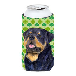Caroline's Treasures - Rottweiler St. Patrick's Day Shamrock Portrait Tall Boy Koozie Hugger - Rottweiler St. Patrick's Day Shamrock Portrait Tall Boy Koozie Hugger Fits 22 oz. to 24 oz. cans or pint bottles. Great collapsible koozie for Energy Drinks or large Iced Tea beverages. Great to keep track of your beverage and add a bit of flair to a gathering. Match with one of the insulated coolers or coasters for a nice gift pack. Wash the hugger in your dishwasher or clothes washer. Design will not come off.
