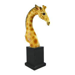 Beautiful Giraffe Head Mini Bust Statue Africa Wild - Made of cold cast resin, this stunning African Giraffe head statue adds a touch of style to wherever you display it. Measuring 9 1/2 inches tall, 3 1/2 inches deep, and 2 1/2 inches long, it has a wonderful life-like finish, and is hand-painted with brown, black, and orange enamels. It looks great on bookshelves and on top of mantels or tables. It makes a great gift for giraffe lovers.