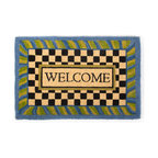 Periwinkle Welcome Mat | MacKenzie-Childs - If there's no second chance at a first impression, make yours count! Greet guests with beautifully detailed, natural entrance mats. For use in protected areas only.