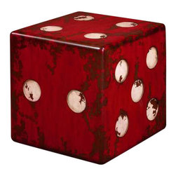 Uttermost Dice Red Accent Table - Burnt red with antiqued ivory accents and walnut wood undertones. Finished on all sides. Burnt red with antiqued ivory accents and walnut wood undertones.