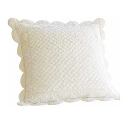 """Taylor Linens - Beth Euro Sham - The Beth Quilt is a soft cream color and has been delicately hand-stitched with gentle scallops and cording detail. It is made from 100% cotton fabric and is machine washable. This sham comes in a soft cream color. 26""""x26"""""""