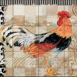 The Tile Mural Store (USA) - Tile Mural - Pb - Bergerac Rooster Viii - Kitchen Backsplash Ideas - This beautiful artwork by Paul Brent has been digitally reproduced for tiles and depicts a colorful rooster.  Rooster tile murals and decorative tiles with roosters are the perfect addition to your kitchen backsplash tile project. You can't go wrong with any of our decorative rooster tiles - each one is beautiful and will certainly add interest to your kitchen wall tile. Tile murals of roosters are timeless and will never go out of style. Add something unique to your kitchen backsplash behind your stove or sink.