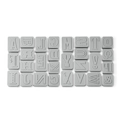 Fred and Friends - Letter Pressed Cookie Cutters, Set of 26 - Letter Pressed will help you bake cookies that really make a statement! These cookie cutters are double sided - first punch out the shapes, then flip them over and stamp the letters. The classic 'printing press' styles look great plain or iced, so start creating headlines whenever you bake! This deluxe set includes all 26 letters plus an ampersand and exclamation point. Cutters are packed on reusable plastic storage trays and packaged in a gloriously attractive full color giftbox.