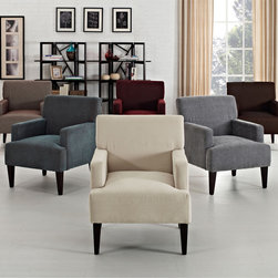 None - Tux Solid Accent Chair - Add a modern classic to your home decor with this Tux accent chair. Available in six unique solid colors,this chair feature simple and elegant arms as well as tapered espresso legs to form a classic style chair that is perfect for contemporary homes.