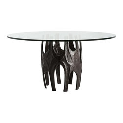 """Arteriors - Naomi Dining Table - The Brutalist style is often characterized by abstracted organic forms, with rough textures, and a dark, earth-toned palette.  The slight irregularities suggest a connection to nature and handcrafting rather than the sharp precision of machine production.  This cast aluminum base is finished in dark antique bronze, and is a great example of the Brutalist design trend.  The 60"""" round glass top sits 6 easily or use in an entry for drama.  Base: 22"""" round"""