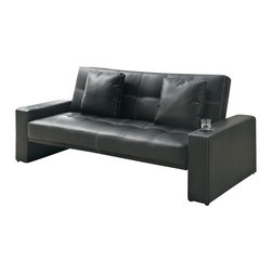 Coaster - Coaster Sofa Sleeper with Cup Holders in Black - Coaster - Convertible Sofas - 300125 - Decor your home in casual style with this convenient sofa sleeper. Created with a casual style that focuses on modern and contemporary design this futon like sleeper sofa will bring a fun and inviting aura to your family room living room apartment or loft. Particularly ideal for those who are seeking casual convenience in their living room arrangement this sofa features smooth track arms with tightly pulled upholstery and casual seam stitching in a striking white accent. A built-in cup-holder in each track arm supplies a great TV and movie watching convenience allowing you to keep your drink or beverage close at hand. When it comes time to accommodate sleep over guests merely fold down the seat back to provide them with a make-shift bed that has the comfort of a sofa.