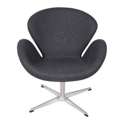 Hampton Modern - Arne Jacobsen Swan Chair - The Swan Style Chair features sweeping curves in a classy style that is sure to catch any guest's eye. The comfortable hand stitched upholstered wool is soft to the touch, and fits well layered over the high density foam interior. The unique seat pitch of the accent chair is designed to relax you.  With a sturdy stainless steel rotating base this piece is built to last.