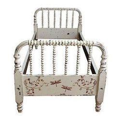 """Used Antique Hand-Painted Jenny Lind Twin Bed - A hand-painted Jenny Lind 19th-century child's headboard and foot board with pegged rails. The bed requires a custom mattress.     The headboard and foot board each, 32""""L x 2.5""""W x 28.5""""H. Pegged rails 64""""L. Comes in four pieces including the headboard, foot board and two pegged rails."""