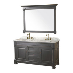 "Wyndham - Andover 60"" Traditional Double Bathroom Vanity Set - Antique Black - A new edition to the Wyndham Collection, the beautiful Andover bathroom vanity series represents an updated take on traditional styling. The Andover is a keystone piece, with strong, classic lines and an attention to detail.; The vanity and solid marble countertop are hand carved and stained. Available in Black and Dark Cherry finishes to match any decor. Available in a range of single or double vanity sizes to fit any bathroom.; Antique Black Finish; Includes Solid Marble Counter - White Carrera; Includes White Porcelain Basin; Includes Backsplash; Includes Matching Mirrors; Fits 60 inch space; Faucet not included; Constructed of environmentally friendly, zero emissions solid oak wood, engineered to prevent warping and last a lifetime; Dimensions: Vanity 60 x 23 x 35; Mirror 55 x 41"