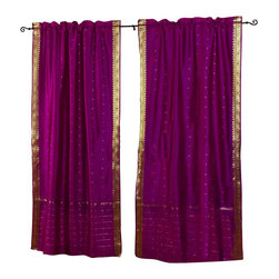 Indian Selections - Pair of Violet Red Rod Pocket Sheer Sari Cafe Curtains, 43 X 36 In. - Several sizes available