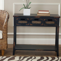 Safavieh - Safavieh Corby Distressed 3-Drawer Black Console Table - Decorate your home with one of these rustic console tables with storage from Corby. This distressed black console table features three drawers for added storage and inset wicker drawer fronts. The table measures 30' H x 34' W x 14' D.