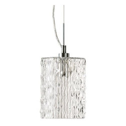Quorum International - Clear Ice Mini Pendant by Quorum International - Add a truly cool element into a modern lighting scheme with the Quorum Clear Ice Mini Pendant. The cylindrical shade indeed looks like frozen water, made of Clear glass with a rippled surface. The Satin Nickel finish on the metal support structure provides a silvery accent. Available in two sizes. Unique products for unique customers. That's what Quorum International has been creating since 1981. From their headquarters in Fort Worth, Texas, Quorum designs ceiling fans and lighting fixtures in a wide range of styles to meet a wide range of discerning tastes. The high quality of these pieces ensures that their beauty will last for many years to come.