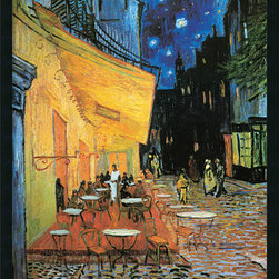 Amanti Art - Cafe Terrace at Night, 1888 Framed with Gel Coated Finish by Vincent Van Gogh - More than a hundred years after Van Gogh painted it, the Cafe Terrace still serves its patrons in Arles, France. However, this little bistro changed its name to Cafe Van Gogh, in honor of the artist who immortalized its cobblestone streets.