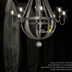 Anitque Wood And Iron Chandelier -