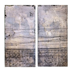 """Vertuu Design - Subtle Symphony' Artwork (Set of 2) - Bring texture to your home with the """"Subtle Symphony"""" Artwork. These two rectangular sister pieces feature a distressed lavender color with black spatters and uneven lines. For a dramatic contrast, display these hand-painted acrylic canvas pieces among design elements with neutral colors and clean lines."""