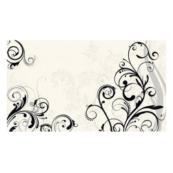 York Wallcoverings - Black White Scroll Swirls Giant Wallpaper Accent Mural - Features: