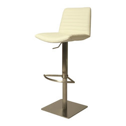 Pastel Furniture - Pastel Furniture Berkeley Contemporary / Modern Accent Chair X-879-SS-912-KB - The contemporary Berkeley Hydraulic Barstool has a simple yet elegant design that is perfect for any decor. An ideal way to add a touch of modern flair to any dining or entertaining area in your home. This barstool features a quality metal frame with sturdy legs and foot rest finished in Stainless Steel. The padded seat is upholstered in Pu Gray or PU Ivory offering comfort and style.