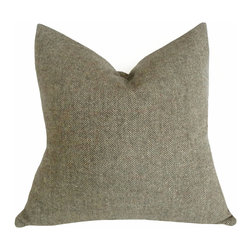 PillowThrowDecor - Herringbone Tweed Pillow - Cozy up to warm, wooly, herringbone tweed pillows in your neutral woodland theme. Muted sage green with subtle hints of merlot, blue, cream and white fits with so many other natural colors.