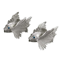 L'Objet - L'Objet Platinum Plated Fish Salt & Pepper Shakers Set of 2 - L'Objet isbest known for using ancient design techniques to create timeless, yetdecidedly modern serveware, dishes, home decor and gifts. Platinum Plated BandSwarovski Crystals in Blue Lead-Free Crystal Luxuriously Gift Boxed. Attention to detail is often what distinguishes any presentationfrom beautiful to memorable. These spice jewels will enrich any decor withtheir distinguishable handcrafted details. Setof 2. 7.5pt;