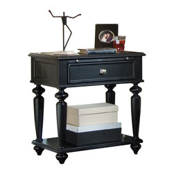 American Drew - American Drew Camden-Dark Leg Nightstand in Black - The Camden-Dark accents simple forms with quiet traditional references, gentle curves and a beautiful rustic black finish that lets the character of the wood show through. The brushed nickel finish hardware adds even more character to Camden. This collection will work great in most any setting. Create an urban rustic loft, a classic antique look or a mountain vacation home.