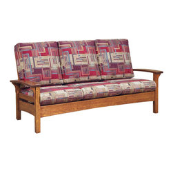 Chelsea Home Furniture - Chelsea Home Marietta Sofa - Esquire Standard - Perfect for your rustic style sun room or living room, the Marietta set in White Quarter Sawn Oak with Michael's Cherry finish is both functional and comfortable. The horizontal slatted seat back gives a clean look and sturdy construction to this set. Customize your furniture and relax in the comfort of plush upholstered zippered cushions available in standard or premium fabrics and a quality leather option. Chelsea Home Furniture proudly offers handcrafted American made heirloom quality furniture, custom made for you. What makes heirloom quality furniture? It's knowing how to turn a house into a home. It's clean lines, ingenuity and impeccable construction derived from solid woods, not veneers or printed finishes over composites or wood products _ the best nature has to offer. It's creating memories. It's ensuring the furniture you buy today will still be the same 100 years from now! Every piece of furniture in our collection is built by expert furniture artisans with a standard of superiority that is unmatched by mass-produced composite materials imported from Asia or produced domestically. This rare standard is evident through our use of the finest materials available, such as locally grown hardwoods of many varieties, and pine, which make our products durable and long lasting. Many pieces are signed by the craftsman that produces them, as these artisans are proud of the work they do! These American made pieces are built with mastery, using mortise-and-tenon joints that have been used by woodworkers for thousands of years. In addition, our craftsmen use tongue-in-groove construction, and screws instead of nails during assembly and dovetailing _both painstaking techniques that are hard to come by in today's marketplace. And with a wide array of stains available, you can create an original piece of furniture that not only matches your living space, but your personality. So adorn your home with