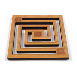 """Lightwave Laser - Frank Lloyd Wright Whirling Arrow Hardwood Trivet - The Frank Lloyd Wright Whirling Arrow Trivet design is adapted from one of the numerous versions of the whirling arrow created by Frank Lloyd wright; dating from the thirties and forties as a logo for Taliesin west and the Taliesin fellowship. Precision laser cut wood for quality of finish and design accuracy. Comes with sawtooth hanger for (optional) wall display. Cushioned feet. Dimensions: 7.75"""" x 7.75"""" x .5""""."""