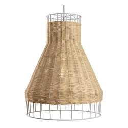 Blu Dot - Blu Dot Laika Medium Plus Pendant Light, Natural - White or natural colored rattan is intertwined with a steel framework to create a pleasing hand woven pattern of peekaboo light. Mounts to ceiling.