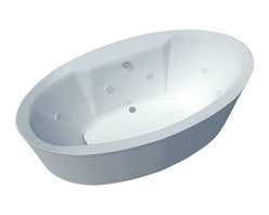Spa World Corp - Atlantis Tubs 3468SW Suisse 34x68x24 Inch Freestanding Whirlpool Jetted Bathtub - The Suisse series features contemporary oval design. The increased interior depth allows bathers to enjoy the true deep soak, turning each bathing session into an unforgettable experience. Whirlpool tubs feature jets and recirculating pumps to supply a hydro-therapeutic experience. Whirlpool tubs are designed to provide a more vigorous and comforting massage with jets positioned to direct warm water to areas like the lower and upper back, shoulders and legs. The Atlantis whirlpool hydro therapy configuration consists of symmetrically-allocated, 360� direction-adjustable water jets. System control is located on the entrance side panel, allowing bathers to turn water streams on and off. Freestanding tubs are meant to be proudly displayed rather than crowded in a corner and add character to your bathroom.