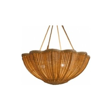 Eco Friendly Furnture and Lighting - Hand woven in rattan around a cane frame. Three-way electrical fitting allows for light to flood through the rattan and up to the ceiling. Supplied with 4 lengths of spliced rope to hang 1m from ceiling with a 4-way brass ceiling rose.