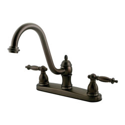 Kingston Brass - Double Handle 8in. Centerset Kitchen Faucet without Sprayer - The stylish steeple-shaped levers and bell-shaped escutcheons are what makes the Templeton lavatory faucet a one-of-a-kind collection. Made from solid brass--our faucets are built to provide long-lasting performance.
