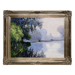 overstockArt.com - Monet - Morning on The Seine near Giverny Oil Painting - Hand painted oil reproduction of a famous Monet painting, Morning on the Seine near Giverny. Originally created in 1896. Today it has been carefully recreated detail-by-detail, color-by-color to near perfection. Why settle for a print when you can add sophistication to your rooms with a beautiful fine gallery reproduction oil painting? While Monet successfully captured life's reality in many of his works, his aim was to analyze the ever-changing nature of color and light. Known as the classic Impressionist, Monet cannot help but inspire deep admiration for his talent in those who view his work. This work of art has the same emotions and beauty as the original. Why not grace your home with this reproduced masterpiece? It is sure to bring many admirers!