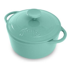 Fiesta Cast Iron Dutch Oven - Turquoise - You'll find plenty of reasons to deem the Fiesta Cast Iron Dutch Oven - Turquoise as your go-to meal-maker. Ideal for preparing complete meals on the stovetop or in the oven, this dish moves from kitchen to table with ease. A great utensil for soups, casseroles, and roasts, this Dutch oven features cast iron construction, which provides superior heat retention and browns foods evenly. It's even oven- and broiler-safe to 850 degrees F. This pan requires no seasoning and gets better with each use.About FiestaAmerica's favorite dinnerware line, Fiesta was introduced by the Homer Laughlin China Company in 1936. Available in plenty of bright, vibrant colors and unique shapes, Fiesta dinnerware and serveware features Art Deco-style concentric rings. Made from durable, restaurant-quality ceramic and finished in lead- and cadmium-free glazes, this line of kitchenware is easy to mix and match to create your own custom set. Best of all, each piece is microwave- and oven-safe, and dishwasher-safe for easy cleanup.