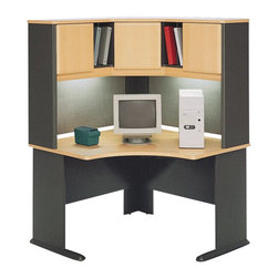 "Bush - Bush Series A 48"" Corner Computer Desk with Hutch in Beech - Bush - Office Sets - WC14366PKG4 - Bush Series A Wood Corner Hutch in Beech and Grey (included quantity: 1) The Bush Series A Corner Hutch is a grand addition to the Bush Series A Corner Desk. Turning your workspace into a private tower of efficiency, this generous corner hutch features a wide variety of storage styles to suit your needs.  Features:"