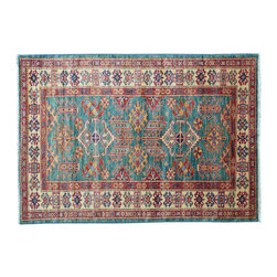 Oriental Rug, 3'X5' 100% Wool Tribal Design Super Kazak Hand Knotted Rug SH11420 - This collections consists of well known classical southwestern designs like Kazaks, Serapis, Herizs, Mamluks, Kilims, and Bokaras. These tribal motifs are very popular down in the South and especially out west.
