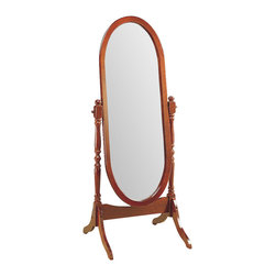 Monarch Specialties - Monarch Specialties I 3101 Walnut Oval Cheval Mirror - This walnut cheval floor mirror will be a lovely addition to your contemporary master bedroom. The functional piece features an oval shaped mirror glass, with swivel motion for adjustability and ease of use. Mirror (1)