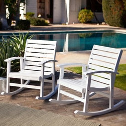 Belham Living Whitman White Rocker - Set of 2 - Enjoy the view from anywhere in the yard relaxing in your Set of 2 Whitman Wood Rocking Chairs. They are constructed of FSC-certified Eucalyptus wood with slatted seats and backs that are contoured for comfort making sure you spend more time outside enjoying the breeze. These rocking chairs are sure to provide hours of enjoyment any morning or afternoon that calls for some personal contentment. They include heavy duty support hardware that consists of metal plates positioned at the key joints to provide extra stability. Wooden Outdoor Furniture Care and MaintenanceThe finish on wood outdoor furniture when exposed to an environment with substantial temperature changes (moisture sun and salt air) can change over time. It is not uncommon and users should expect some swelling discoloration or possible surface cracks due to the outside exposure and changes in the weather. These are considered natural occurrences of wood and should not be considered as a product defect. To prolong the life of your item you should consider placing under a covered area.