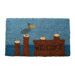 Entryways - Pelican Welcome Hand Woven Coconut Fiber Doormat - Designed by an artist, this distinctive mat is a work of art that will add a welcoming touch to any home. It is from Entryways' handmade collection and meets the industry's highest standards. This decorative mat is handsomely hand woven and hand stenciled.