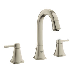 "Grohe - Grohe 20419EN0 Brushed Nickel Grandera Series Two Handle Widespread Lav Faucet - Grohe Grandera three hole bath faucet 20419 EN0. This bath faucet features a 3-hole installation, two lever handles for precise volume and temperature control, Grohe's WaterCare technology for a 1.5 GPM flow rate, a 1/2"" cartridge, pressure resistant flexible connection hoses, and a 1-1/4"" pop-up waste assembly. This model comes in a beautiful, Brushed Nickel finish."