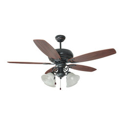 "Design House - Design House 154005 Drake 52"" Ceiling Fan with Light Kit and Reversible Blades - Design House Drake 52"" Ceiling Fan with 4 Lights & Albaster GlassThe Rustic Charm Of The Twisted Rods, The Classic Lines And The Bronze Finish Of The Drake Ceiling Fan Make It A Good Choice In Today's Décor."