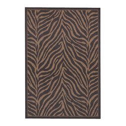 """Couristan - Recife Zebra Rug 1514/0121 - 3'9"""" x 5'5"""" - These weather-defying area rugs are suitable for indoor and outdoor use. You'll love the way they color-coordinate with today's most popular outdoor furniture pieces. The collection's naturally inspired color palette will provide a warmer and more inviting appearance for patio decks and stone entryways."""