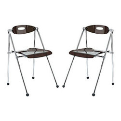 """LexMod - Telescope Folding Chair Set of 2 in Smoke - Telescope Folding Chair Set of 2 in Smoke - A combination of convenience and comfort, the Telescoping Chair offer many desirable features. The back tilts to support you, even when you are reclining. For storage, the chair's telescoping legs allow you to effortlessly fold the chair down to a compact storage size. Ultra modern and attractive, these chairs are not only a smart choice, they are a stylish one as well. Set Includes: Two - Telescoping Chair Durable Acrylic Seat and Back, Chrome Frame, Folds for Storage Overall Product Dimensions: 19""""L x 19""""W x 30""""H Seat Size: 18.5""""L x 15.5""""W x 18.5""""H - Mid Century Modern Furniture."""