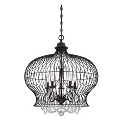 Abagail 5 Light Pendant - A Vintage Birdcage Has Modern Sophistication With The Addition Of Sparkling Crystals In This Savoy House Boutique Pendant.