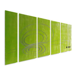 "Pure Art - Green Gratitude Six-Panel Aluminum Wall Art - Talk about ""splendor in the grass""!  This fabulous wall art hanging is nothing if not eye-catching! The Green Gratitude Six Panel Aluminum Wall Art features six individually hand crafted metal wall art panels that are outfitted in tranquil and calming green color in descending shades.  It starts out with a deep grass green on one panel and then as the panels progress, turns lighter with each panel.  This handmade and hand painted metal wall art set is a definite head turner and is sized for hanging in the empty space above your couch, sofa, or other large item of furnitureMade with top grade aluminum material and handcrafted with the use of special colors, it is a very appealing piece that sticks out with its genuine glow. Easy to hang and clean."