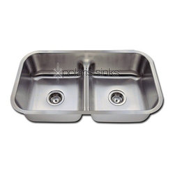"""Low Divide Double Bowl Stainless Steel Sink Fits 33 Minimum Cabinet Size - Stainless Steel is the most popular choice for today?s kitchens due to its clean look and durability. The beautiful brushed satin finish helps to hide small scratches that may occur over the lifetime of the sink. Our Stainless Steel sinks are made from high quality 16 gauge steel, which is 25% thicker than 18 gauge. Most models are made of one piece construction that ensures the sturdiest kitchen sink you will find. Our sinks are made from 304 grade stainless steel that contains 18% chromium and 8-10% nickel and are guaranteed not to rust. Each sink is fully insulated and has a sound dampening pad. Our stainless steel sinks are backed by a . Each sink comes with a cardboard cutout template and mounting hardware.Certified High Quality 304 Grade Stainless Steel. Thick Sound Dampening Pads. 33"""" Minimum Cabinet Size. Finish/Color: Brushed Satin. Material: Stainless Steel. Shape: Rectangular. Weight: 19.1 lbs. Width: 32.5"""". Length: 18.125"""". Height: 8""""."""